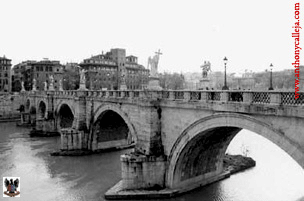 Bridge over river Tiber Rome Italy 1999