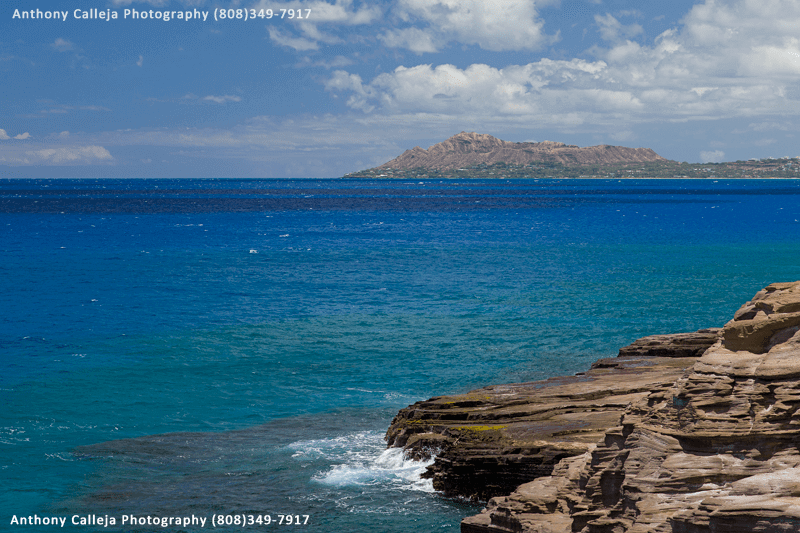 The back side of Diamondhead photograped from Spitting Cave Portlock, Oahu, Hawaii