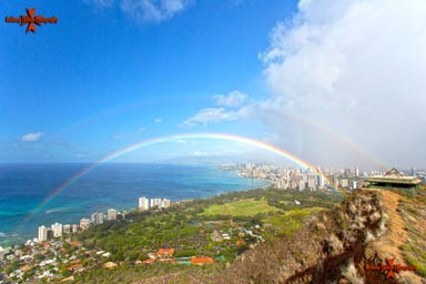 Double Rainbow over Waikiki photographed from Diamond Head lookout Oahu Hawaii