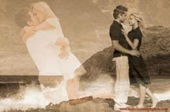 engagement portrait photo montage art Makapuu Beach Oahu Hawaii