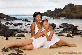 Mother and Daughter Portrait Eternity Beach Oahu Hawaii