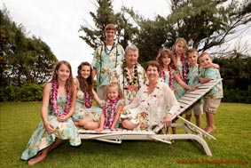 Family Portrait of Grand parents with Grand children North Shore Oahu Hawaii