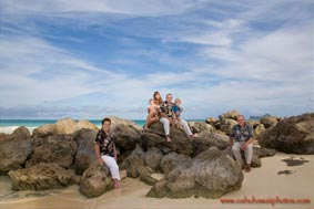Family Portrait photographed at Bellows Beach on the East Oahu Hawaii