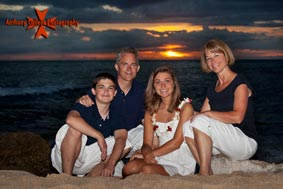 Sunset family portrait photography session at secret beach in Koolina