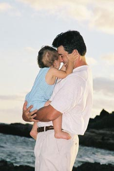 Father an Son -Koolina Family Portrait Photography at secret beach Oahu Hawaii