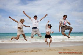 Family Fun Portrait Beach Jump Shot Waimanalo Beach Oahu Hawaii