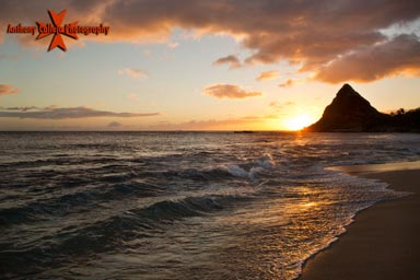 Seascape Photography, Sunset at Makaha Beach, Waianae Coast, Oahu, Hawaii