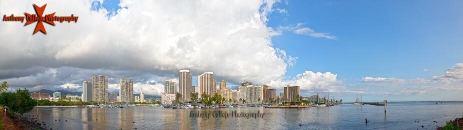 hdr panorama photography Waikiki skyline