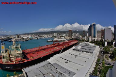 panoramic view of honolulu harbor from the top of Aloha Tower