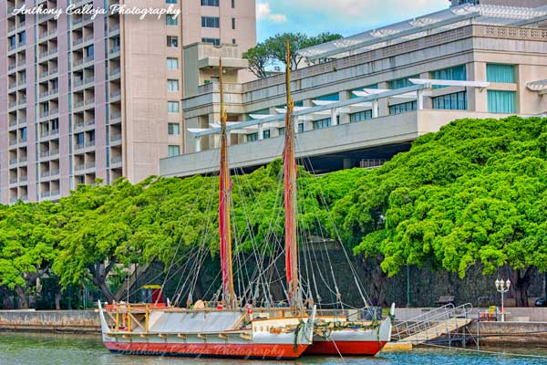Photo of the Hokulea at the Hawaii Convention Center
