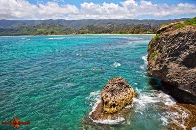 Cliff Jumper at Laie Bay North Shore Oahu Hawaii