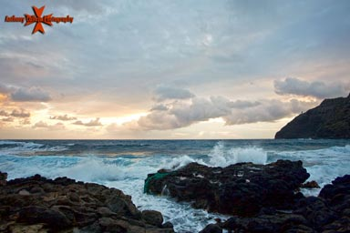 Makapuu lighthouse at Sunrise photographed from Makapuu beach Oahu Hawaii