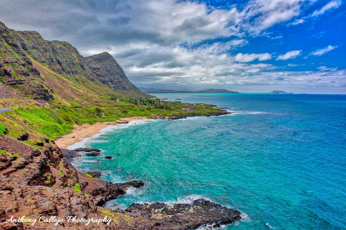 Photo of Makapuu Beach and the Koolau Mountains photographed from Makapuu Lookout, Oahu, Hawaii