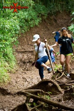 Hikers on the trail to the waterfalls of Manoa, A bamboo stick can be very useful and can be found on the trail to the waterfall