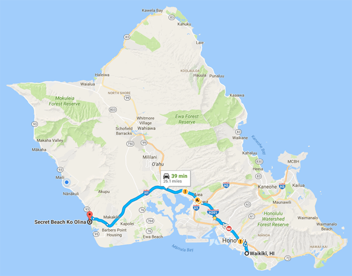 Map of from Waikiki to Secet Beach