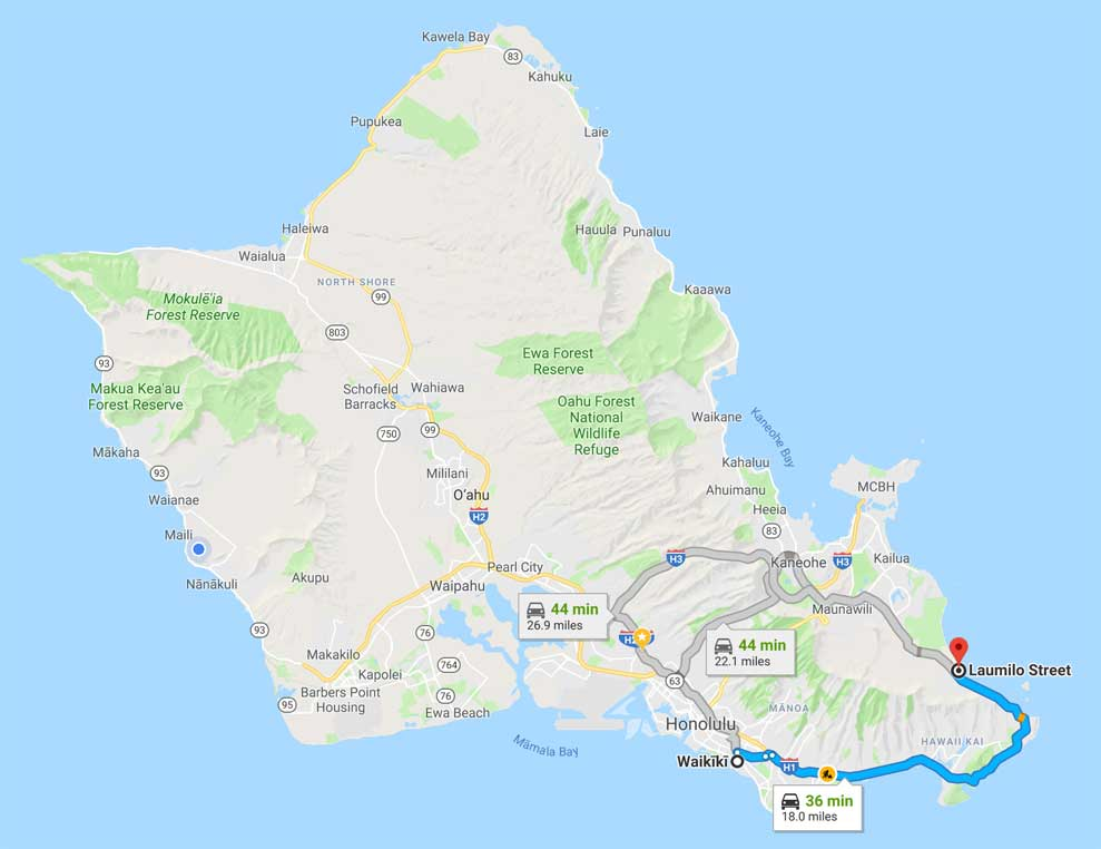 Map From Waikiki To Waimanalo Beach
