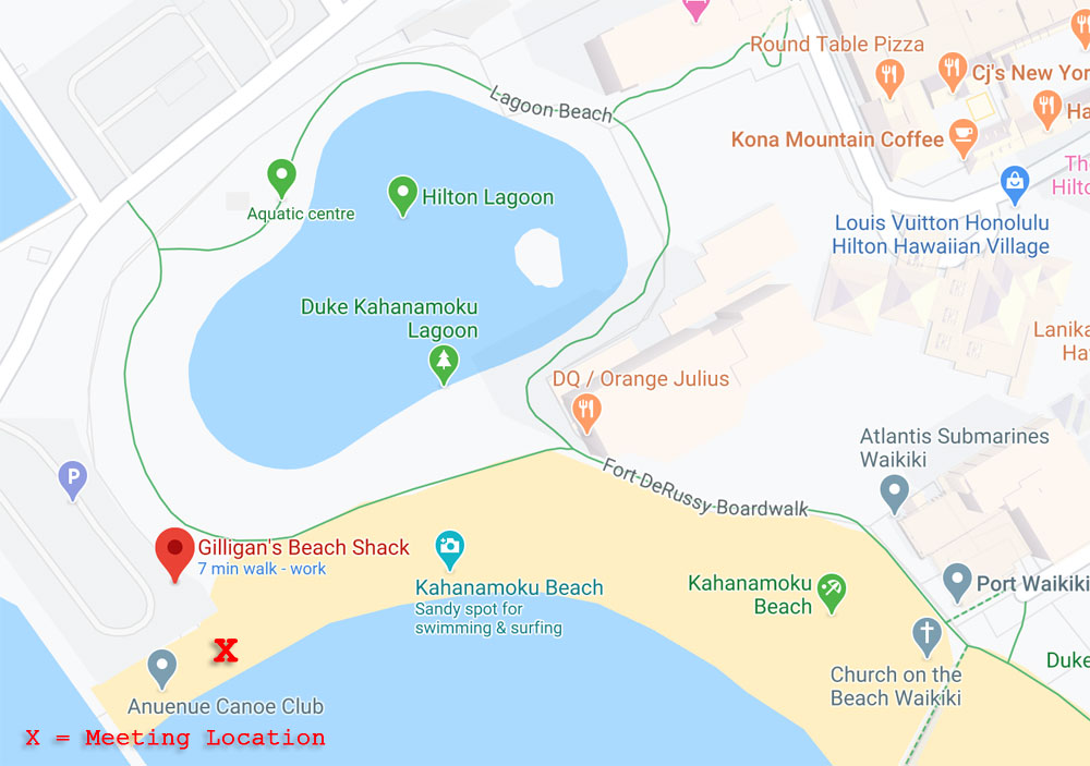 map to meeting location for the 45-minute Waikiki Sunset Photo Session