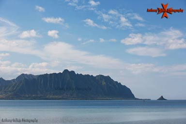 Koolau Mountain Range and Chinaman's hat photographed from East Oahu, Hawaii