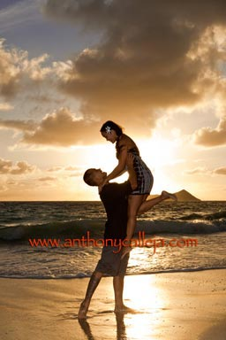 Sunrise Engagement Couples Portrait Waimanalo Beach Oahu Hawaii