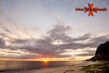Oahu Seascape Photography, Maile Point at Sunset, Oahu, Hawaii