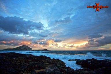 view of rabbit island at sunrise Makapuu beach