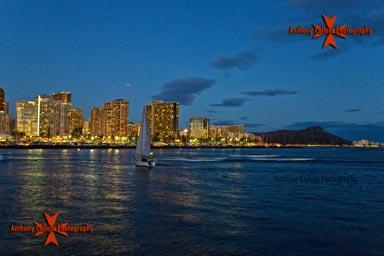 Waikiki skyline at night Diamondhead Oahu Hawaii