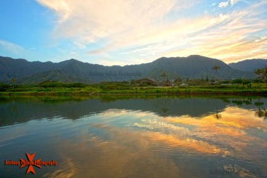 Seascape Photography, Reflection of the Koolau Mountain Range at Sunset, East Oahu, Hawaii
