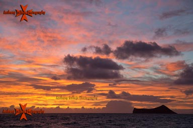 Skies on Fire Rabbit Island at Sunrise, from Waimanalo Beach, Oahu