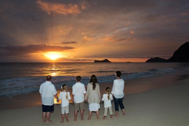 Oahu Family Portrait at Sunrise Waimanalo Beach Oahu Hawaii