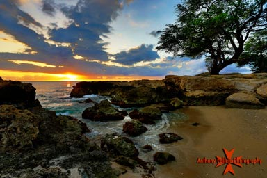 Hawaiian Sunset Manners beach, Waianae Coast, Oahu