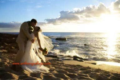 Hawaii Romantic Wedding Portrait - Photographed at Sunset at Secret Beach, located on the Leward coast of Oahu, at the Ko'Olina Resort