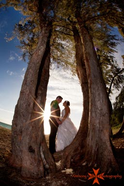 Oahu Wedding Photographers Sunburst wedding couple