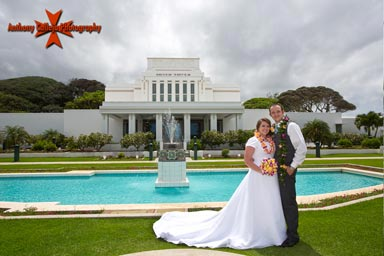 Bride and Groon in front of the LDS Temple in Laie, Hawaii