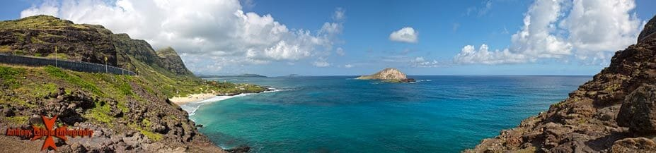 panorama of Makapuu Beach and Rabbit Island photographed at Makapuu lookout