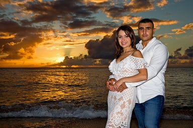 Papailoa Beach Sunset Couples Photography, North Shore, Oahu, Hawaii