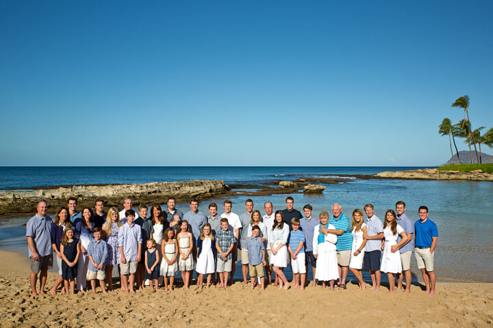 Large Group Family portrait photography Paradise Cove beach