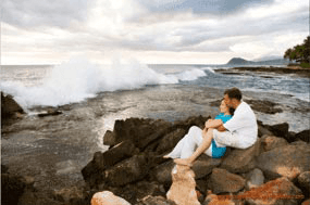 Koolina Engagement Portrait Photography Young couple at Secret Beach Ko'Olina Resort Oahu Hawaii