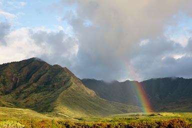 rainbow over Macua valley Waianae Coast Oahu Hawaii