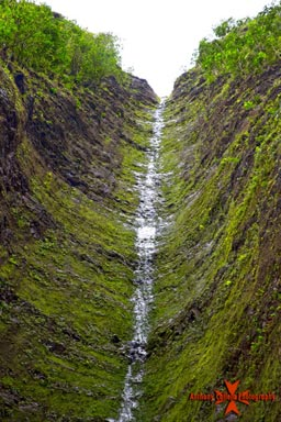 The original waterfall deep in the valley of Hauula, Oahu Hawaii